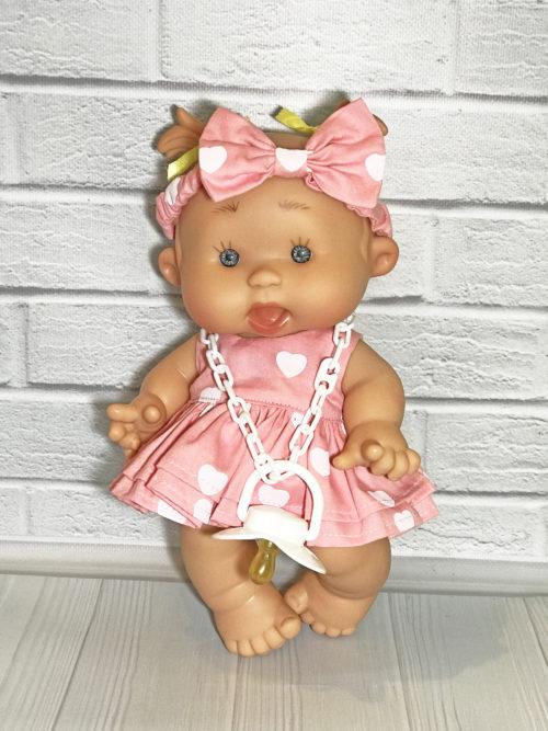 Платье розовое с сердечками для пупса 26 см