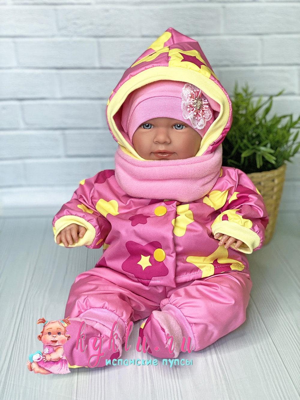 Теплый костюм для куклы розовый
