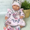Платье лиловое с цветами для куклы