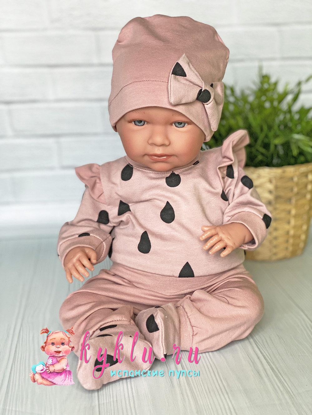 Костюм на куклу бежевый с каплями