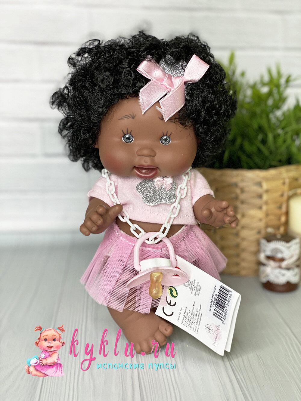 Пупс девочка-мулатка с кудрявыми волосами