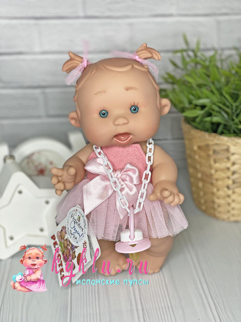 Ванильный пупс девочка с тонкими хвостиками